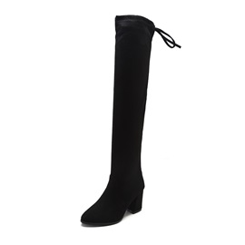 Faux Suede Side Zipper Round Toe Knee High Boots