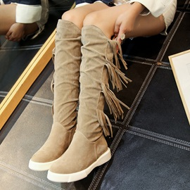 Fringe Faux Suede Slip-On Women's Knee High Boots