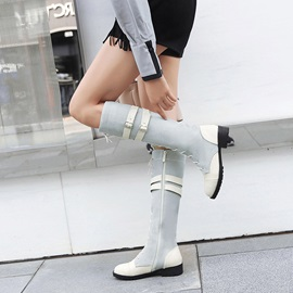 PU Patchwork Block Heel Women's Knee High Boots