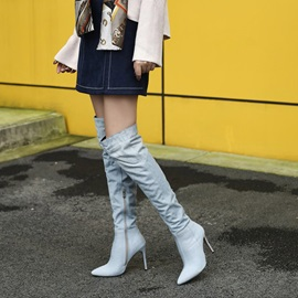 Denim Plain Pointed Toe Stiletto Heel Knee High Boots