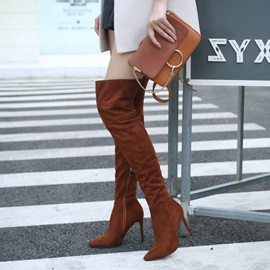 Pointed Toe Side Zipper Stiletto Heel Knee High Boots