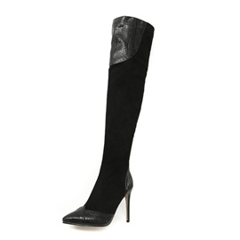 Patchwork Pointed Toe Stiletto Heel Over The Knee Boots