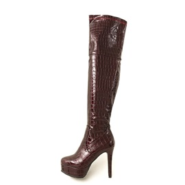 PU Round Toe Platform Stiletto Heel Over The Knee Boots