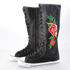 Floral Side Zipper Floral Round Toe Women's Knee High Boots