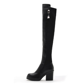 Plain Chunky Heel Round Toe Women's Knee High Boots