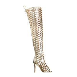 Hollow Stiletto Heel Peep Toe Women's Knee High Boots