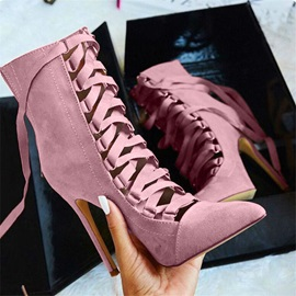 Plain Stiletto Heel Back Zip Cross Strap Women'a Ankle Boots