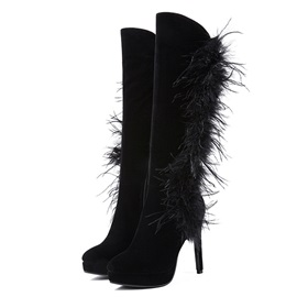 Plain Stiletto Heel Side Zipper Women's Calf High Boots