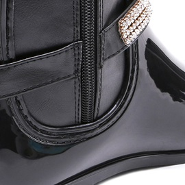 Rhinestone Side Zipper Block Heel Women's Hunter Boots