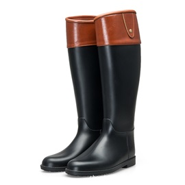 Block Heel Color Block Slip-On Women's Hunter Boots