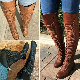 Side Zipper Round Toe Vintage Knee High Boots