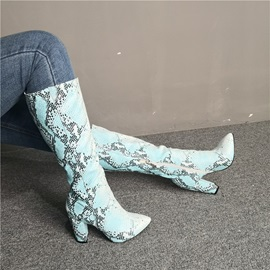 Pointed Toe Side Zipper Serpentine Knee High Boots