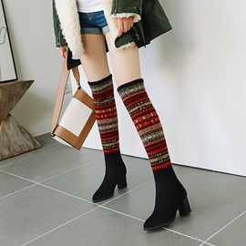 Round Toe Slip-On Color Block Casual Boots