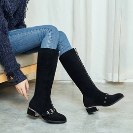 Front  Block Heel Pointed Toe Knee High Boots