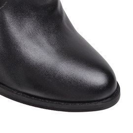 Round Toe Plain Slip-On Mid Calf Boots