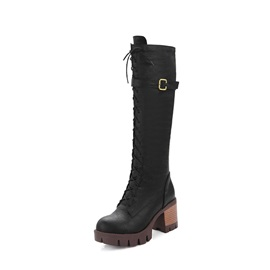 Side  Chunky Heel Round Toe Lace Up Boots