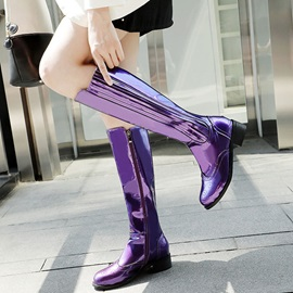 Block Heel Round Toe Short Floss Knee Boots