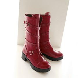 Round Toe Plain Hasp Casual Knee High Boots