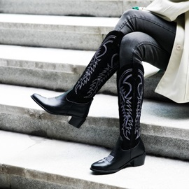 Vintage Slip-On Pointed Toe Color Block Knee Boots