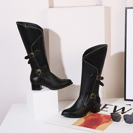 Color Block Chunky Heel Pointed Toe Chic Knee Boots