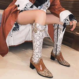 Side Zipper Color Block Pointed Toe Serpentine Knee Boots