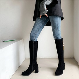 Side Zipper Plain Round Toe Casual Knee Boots