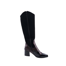 Color Block Side Zipper Pointed Toe Knee High Boots