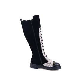 Round Toe Patchwork Side Zipper Casual Knee High Boots