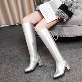 Metallic Lace-Up Back Plain Chunky Heel Knee Boots