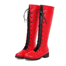 Round Toe Lace-Up Front Cross Strap Knee High Boots