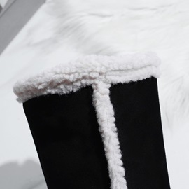 Side Zipper Round Toe Color Block Snow Boots