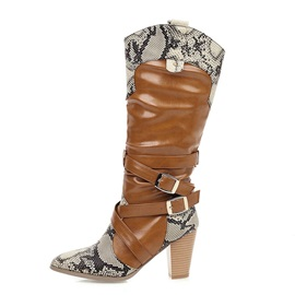 Chunky Heel Slip-On Patchwork Mid Calf Boots