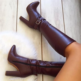 Customized Vintage Side Zipper Round Toe Knee Boots