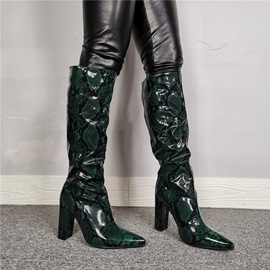 Pointed Toe Slip-On Knee Boots