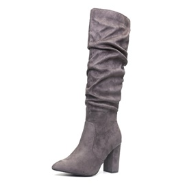 Pointed Toe Side Zipper Chunky Heel Western Boots