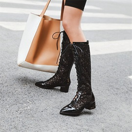 Pointed Toe Back Zip Plain Lace-Up Boots