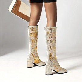 Patchwork Round Toe Back Zip Casual Boots