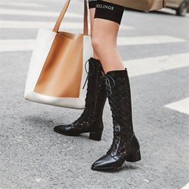 Patchwork Pointed Toe Back Zip Casual Boots