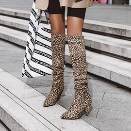 Pointed Toe Slip-On Color Block Boots