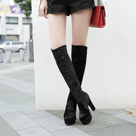 Plain Chunky Heel Side Zipper Zipper Boots