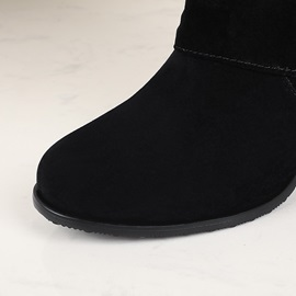 Slip-On Round Toe Plain Short Floss Boots