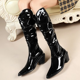 Pointed Toe Chunky Heel Slip-On Professional Boots