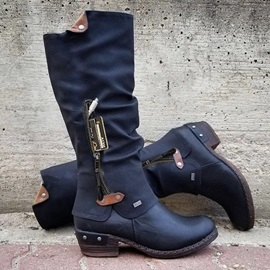 Round Toe Side Zipper Patchwork Western Boots