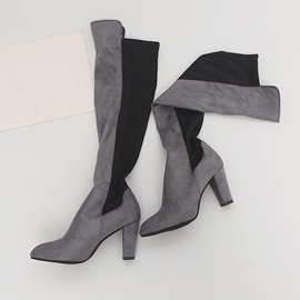 Patchwork Pointed Toe Chunky Heel Thread Boots