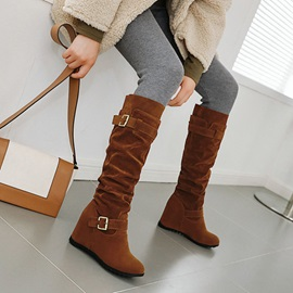 Slip-On Round Toe Plain Casual Boots