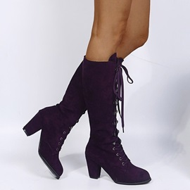 Plain Chunky Heel Lace-Up Front Lace-Up Boots