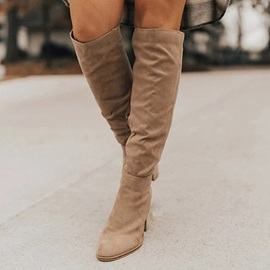 Round Toe Plain Chunky Heel Banquet Boots