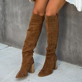 Plain Chunky Heel Pointed Toe Western Boots