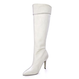 White Inclined Zipper Stiletto Heel Long Boots