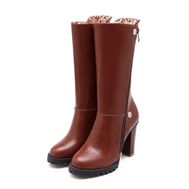 Solid Color Studded Side-Zip Riding Boots